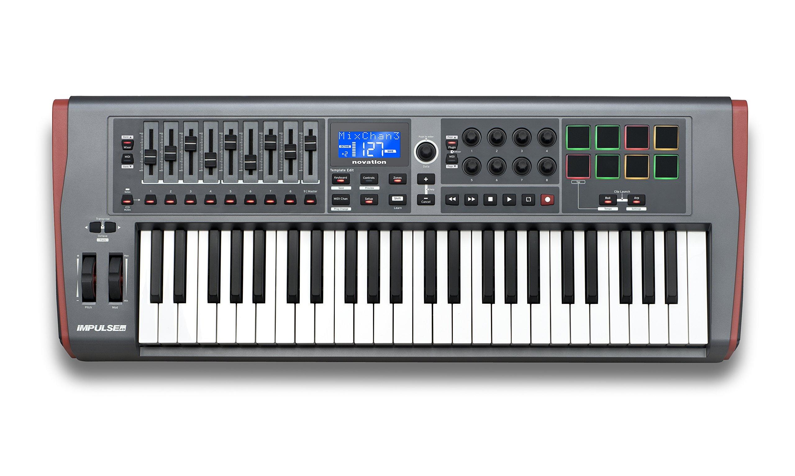Novation Impulse 49 USB Midi Controller Keyboard, 49 Keys (Renewed) by Novation