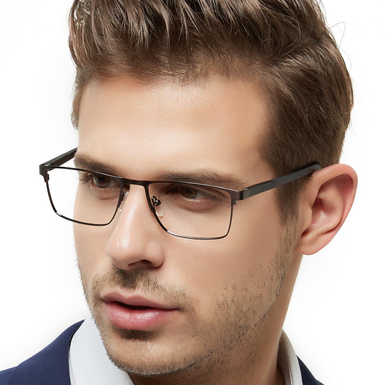 OCCI CHIARI Rectangle Full-Rim Metal Eyewear Frame Acetate Arm for Bussiness Men(Gun, 54)