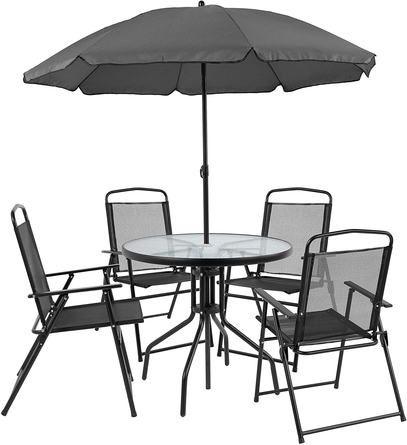 Flash Furniture Nantucket 8 Piece Black Patio Garden Set with Table,  Umbrella and 8 Folding Chairs