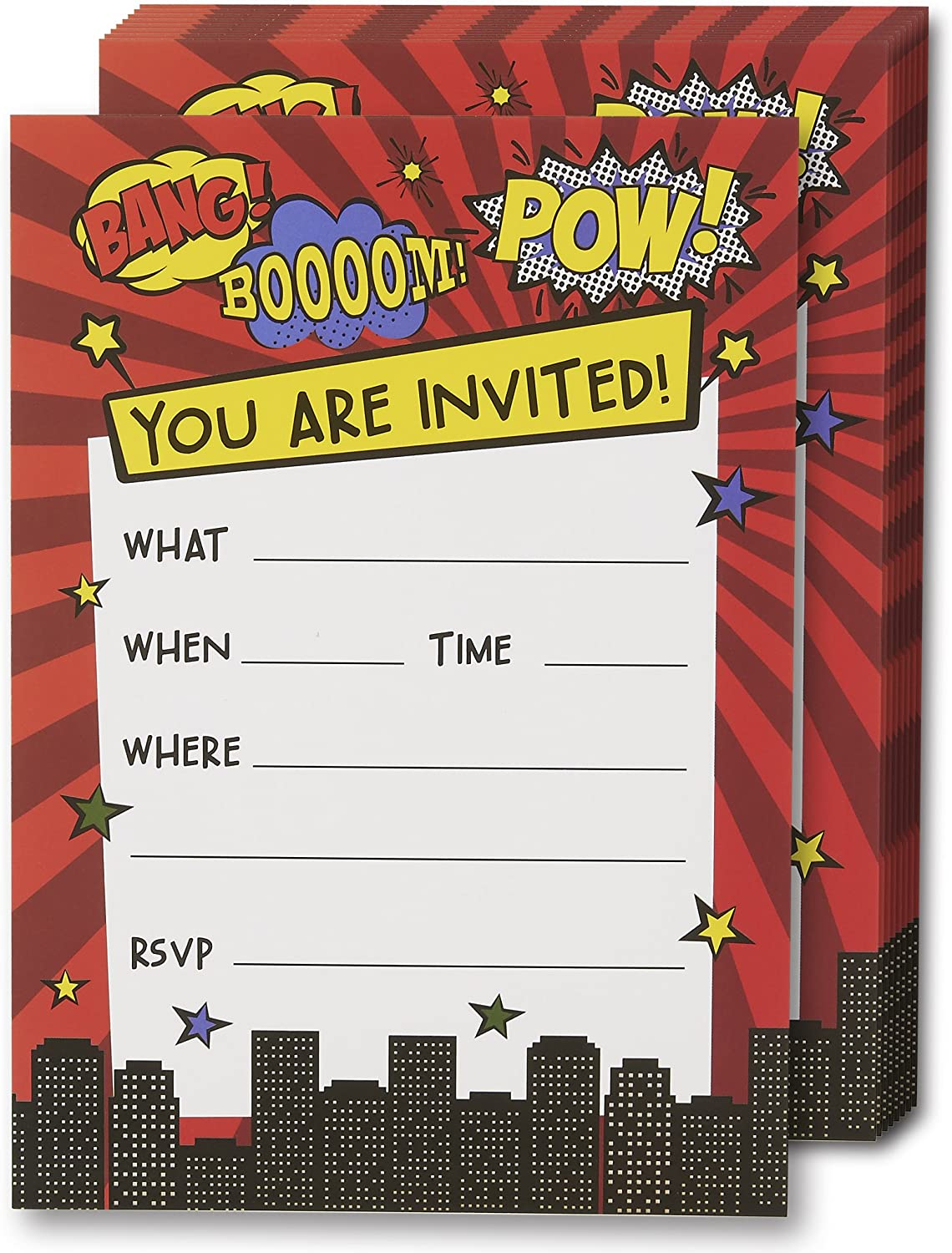Superhero Invitation Cards - 24 Fill-in Invites with Envelopes for Kids Birthday Bash and Theme Party, 5 x 7 Inches, Postcard Style