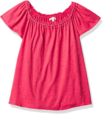 Max Studio Women's On/Off Shoulder Cap Sleeve Crinkled Knit Jersey Top