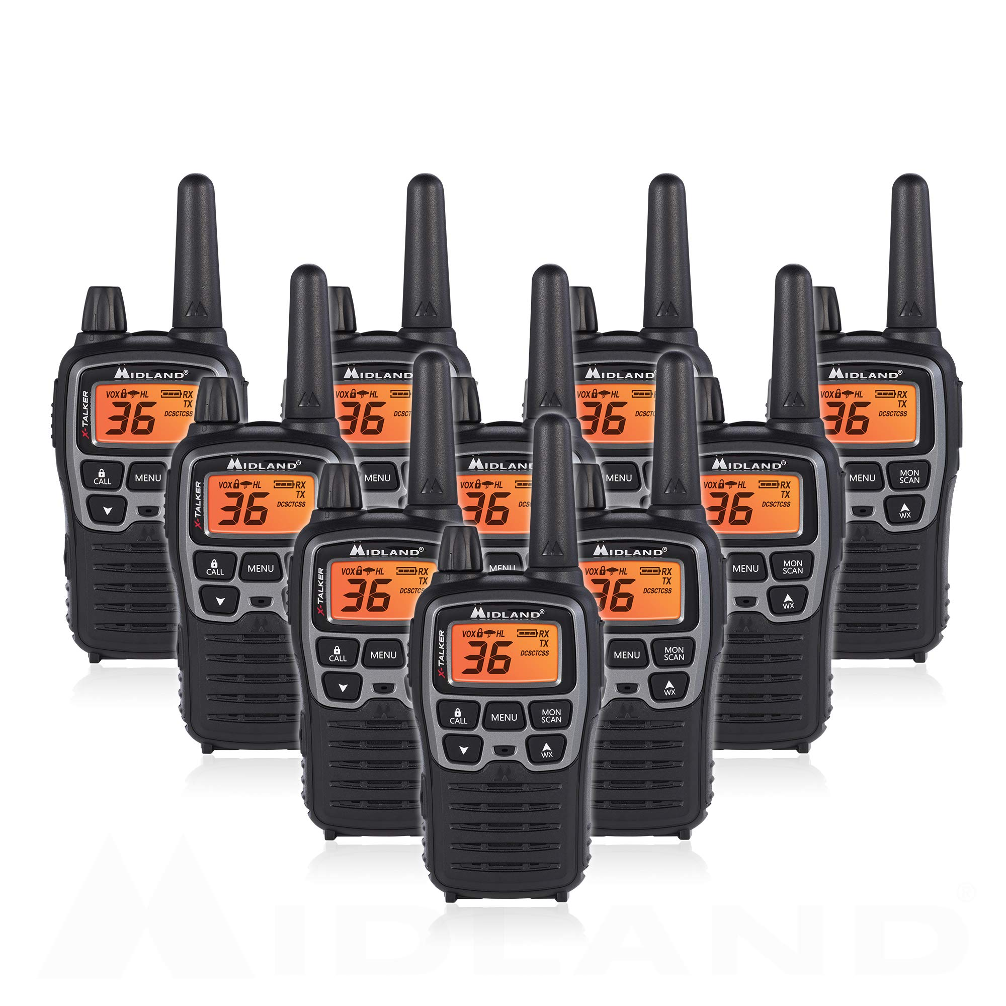 Midland T71VP3 36 Channel FRS Two-Way Radio - Up to 38 Mile Range Walkie Talkie - Black/Silver (Pack of 10) by Midland
