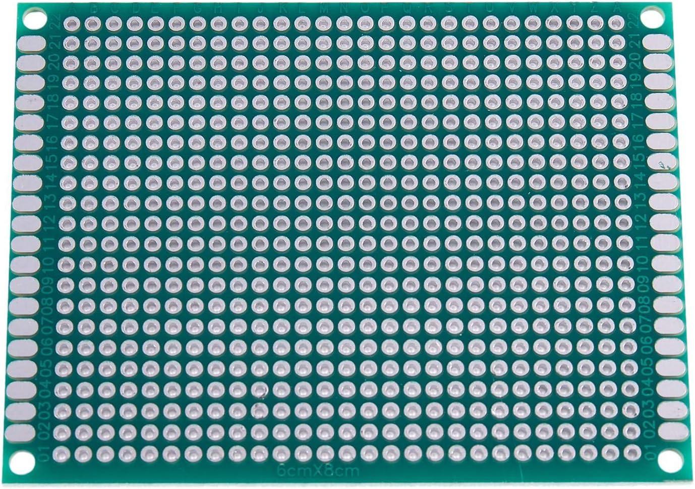 Vaorwne 5pcs 6x8cm Double-cote Prototype PCB Universel panneau de Circuit imprime