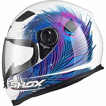 Shox Sniper Peacock Motorcycle Helmet XS White/Blue/Pink