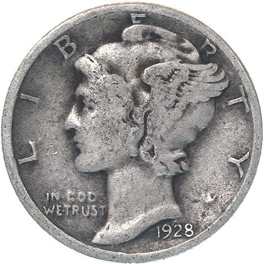 CIRCULATED GRADE GOOD VERY GOOD 90/% SILVER COIN 1928-P MERCURY DIME