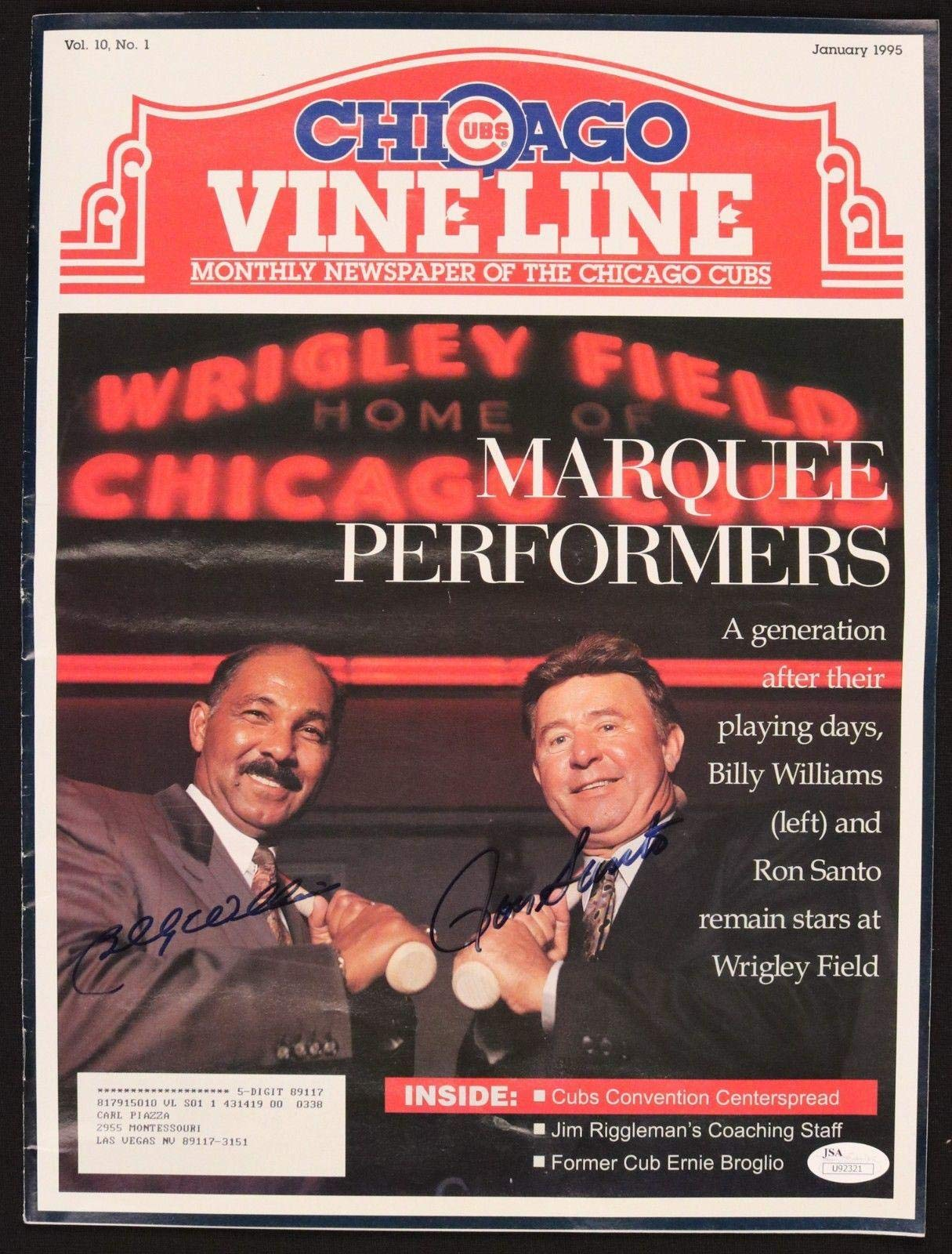 Billy Williams/Ron Santo Cubs Signed Auto Autographed 1995 Vine Line COA JSA Certified Autographed MLB Magazines