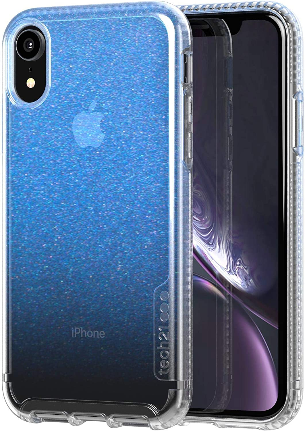 Tech 21 Enterprises Protective Apple iPhone Xr Case Ultra-Thin Iridescent Back Cover with Bulletshield - Pure Shimmer - Blue