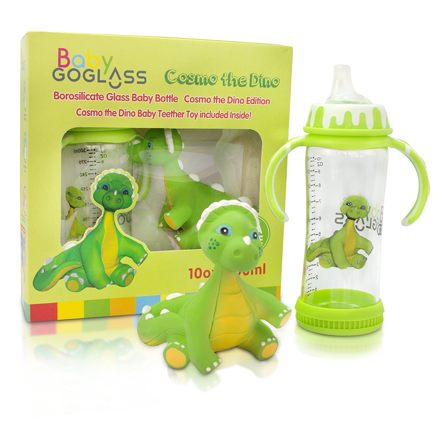 Amazon.com   Insane Sale! GoGlass 10oz Borosilicate Glass Baby Bottle with  Cosmo the Dino Baby Teether   Baby 9ff19f31009a