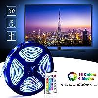 LED TV Retroilluminazione, OMERIL 2.2M Striscia LED Impermeabile con 16 Colori e 4 Modalità per HDTV da 40-60 Pollici/PC Monitor, Alimentata USB LED Striscia RGB 5050 con 24 Tasti Telecomando