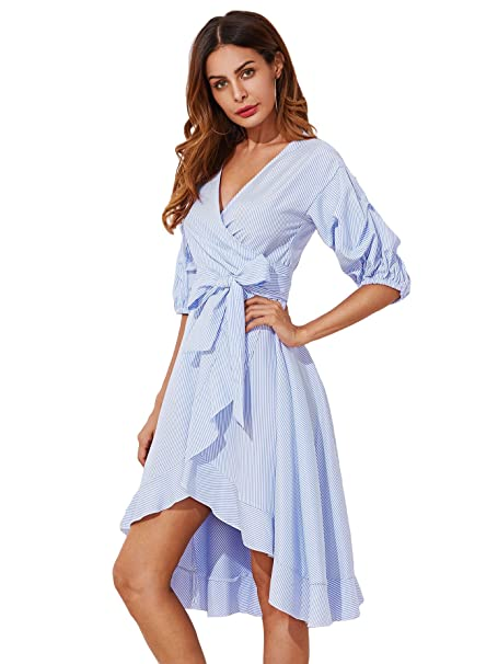 große Auswahl konkurrenzfähiger Preis USA billig verkaufen DIDK Damen Sommerkleid Halbarm Kleid mit Gürtel Streifen ...