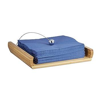 Relaxdays Serviettenhalter aus Bambus, HxBxT: 3,7 x 21,7 x 21,7 cm ...