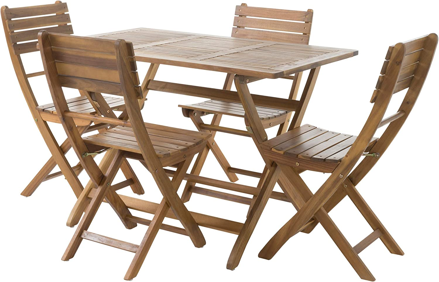 GDF Studio Vicaro | 5 Piece Wood Outdoor Folding Dining Set | Perfect for Patio | with Natural Finish