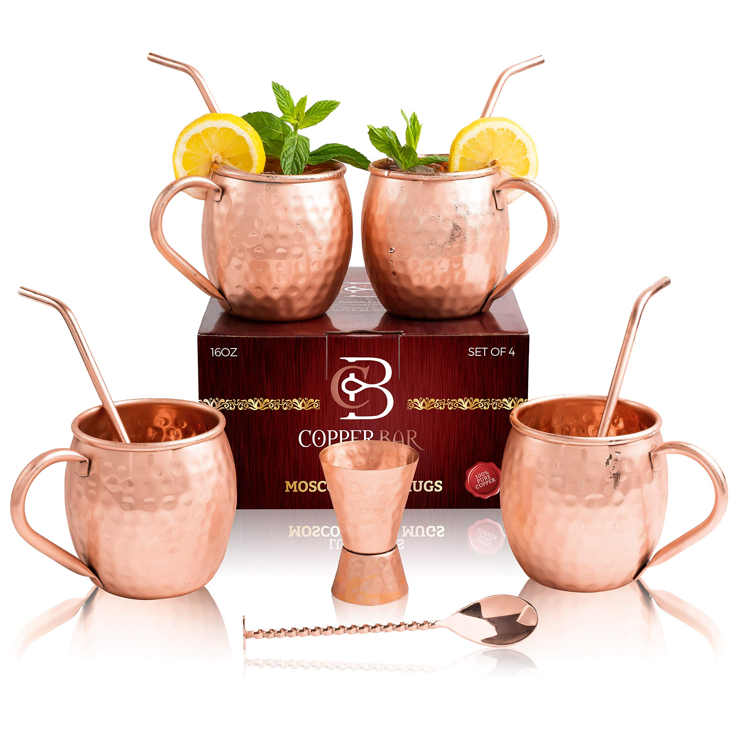 Moscow Mule Copper Mugs - Set of 4-100% HANDCRAFTED - Food Safe Pure Solid Copper Mugs - 16 Oz Gift Set with 4 Highest Quality Cocktail Copper Straws, 1 Jigger and 1 Stirrer