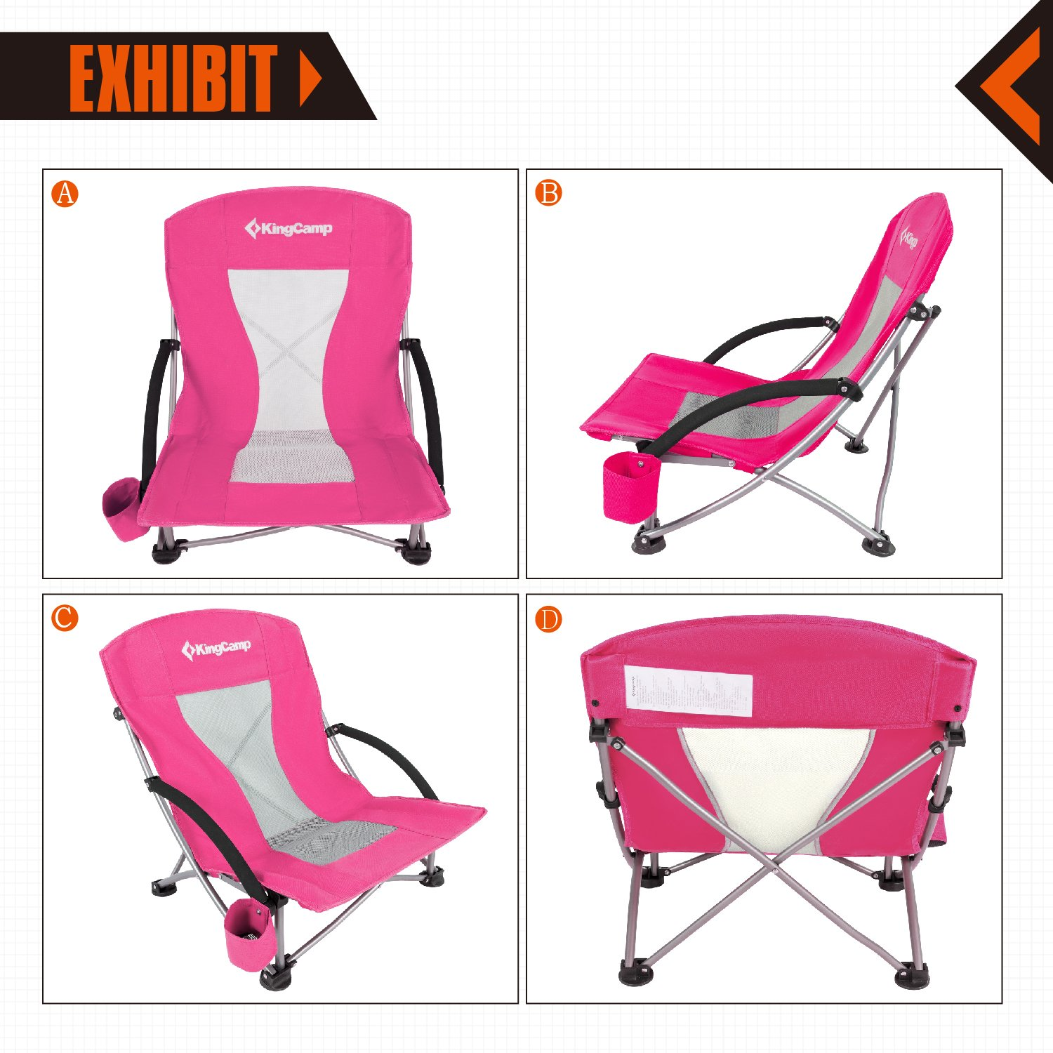 KingCamp Low Sling Beach Camping Concert Folding Chair with Mesh Back 6927194724878