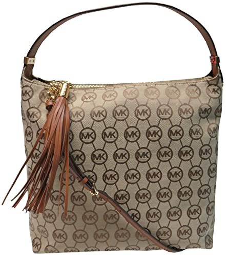 amazon com michael kors bedford large top zip shoulder bag beige rh amazon com