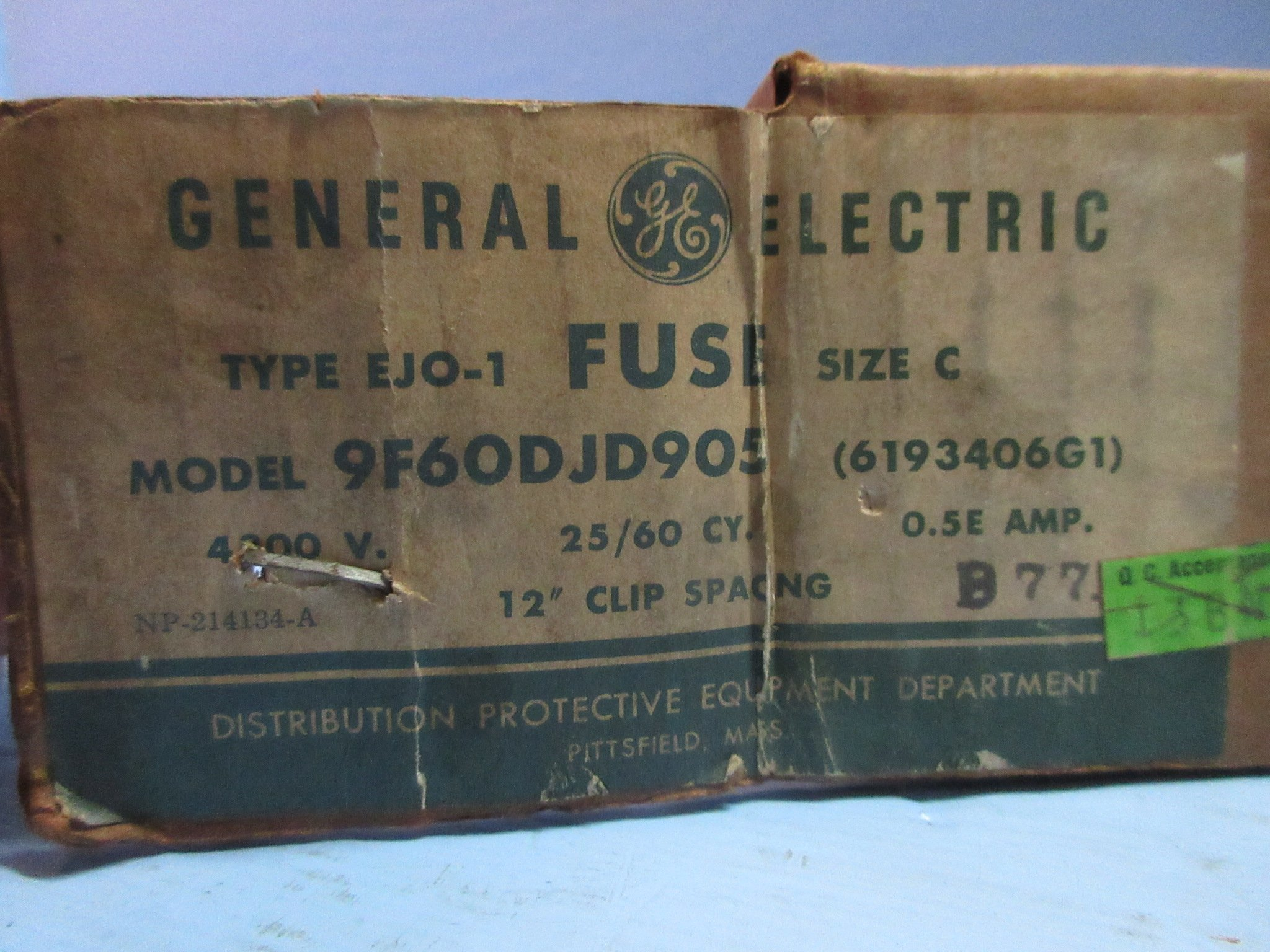 New General Electric 9F60DJD905 Type EJO-1 Fuse 0.5E Amp 4800V Size C GE NIB by GE (Image #2)