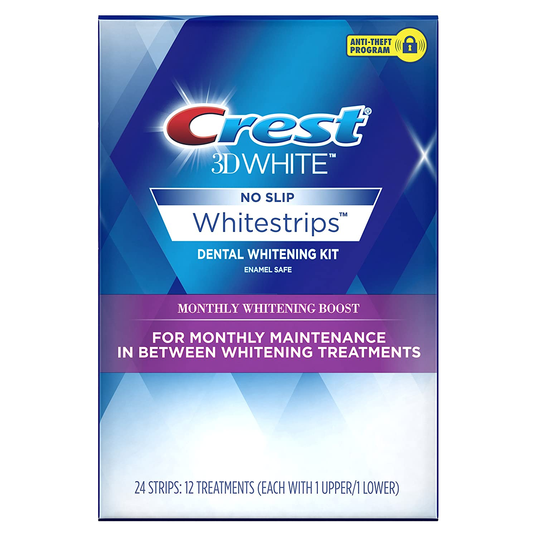Crest 3D White Whitestrips Monthly Whitening Boost Teeth Whitening Kit, 12 Treatments