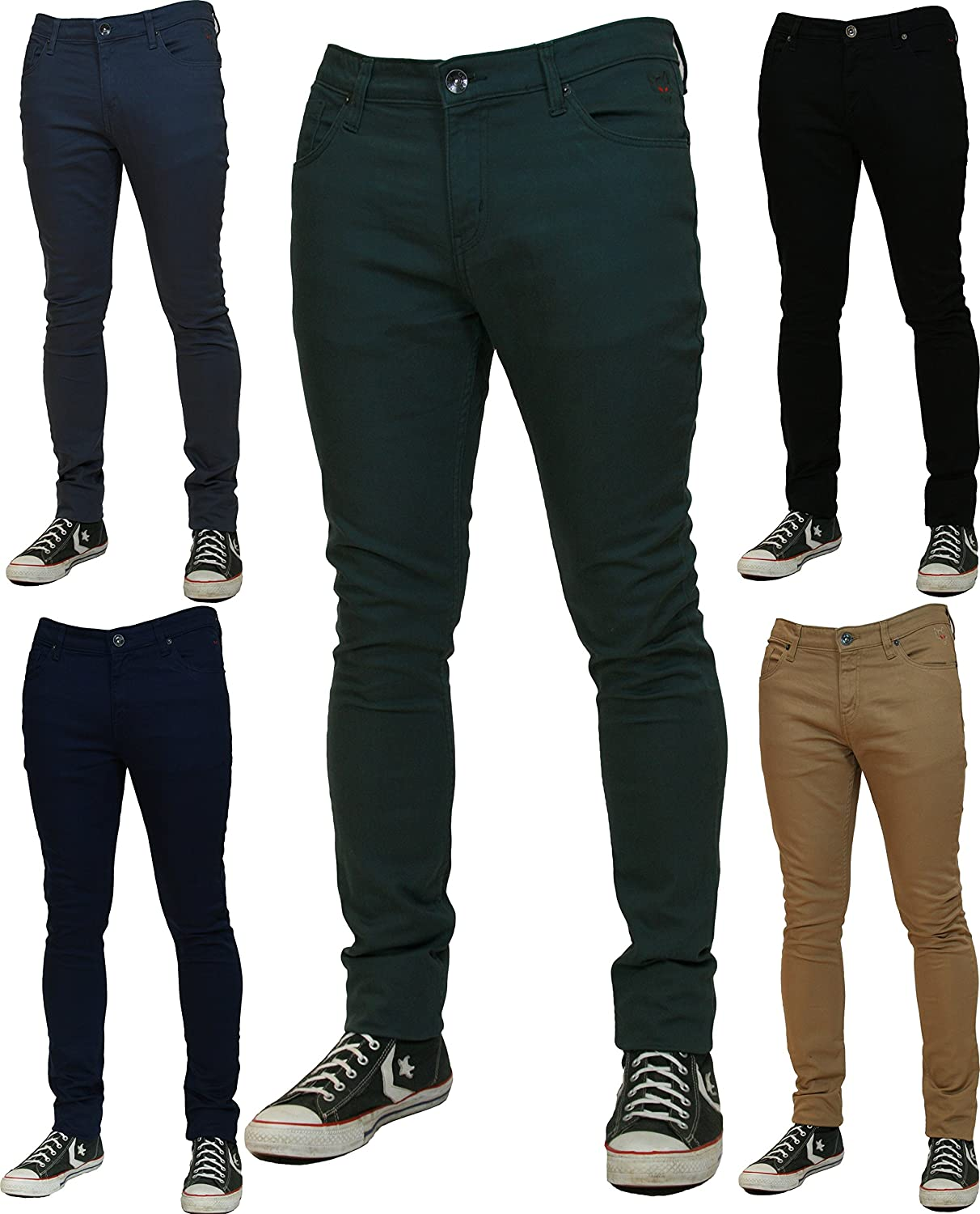 NEW GOJEE MENS SKINNY STRETCH JEANS - Slim Fit Twill Coloured Jeans Pants Chino Trousers GJSS_01