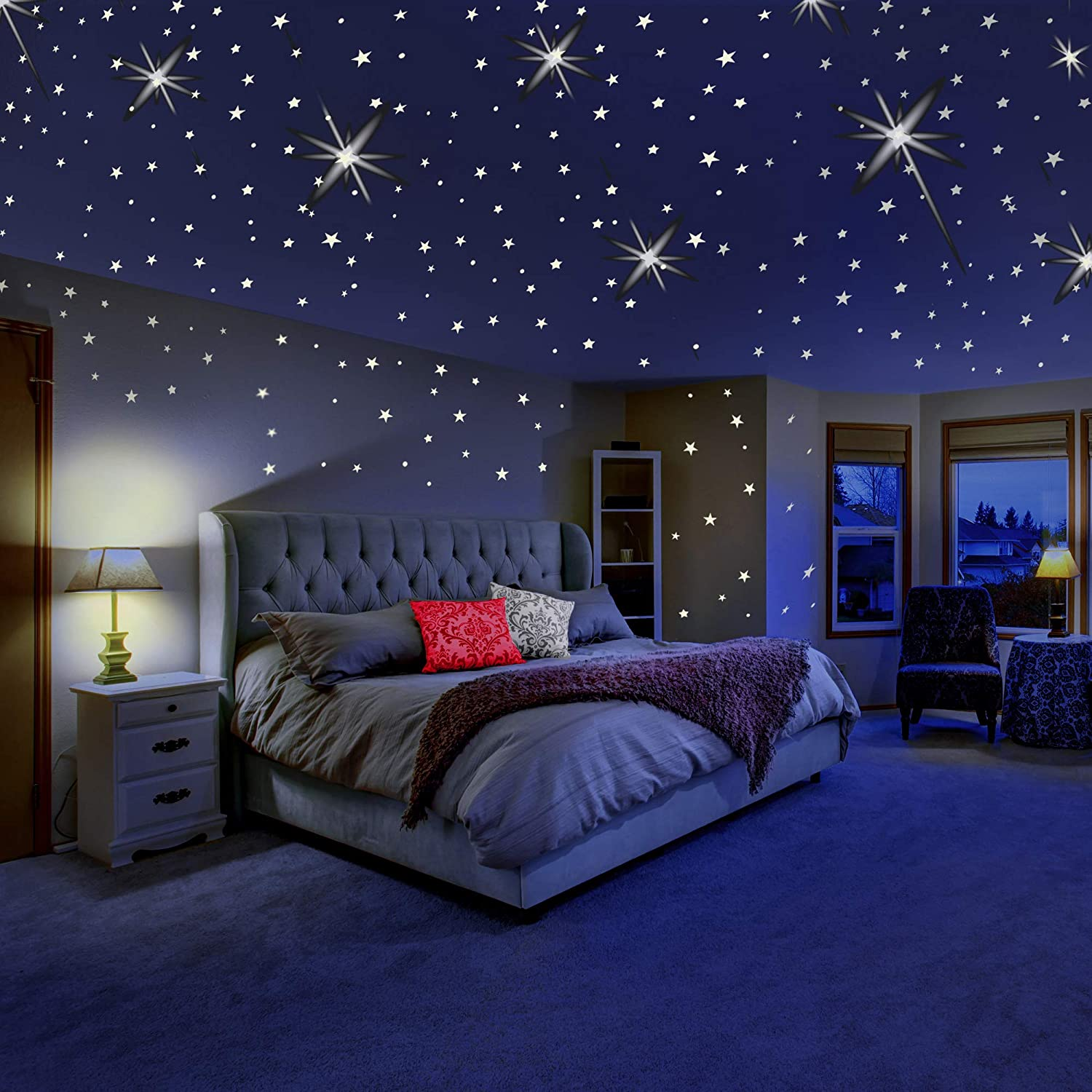 Moon and Dots for Ceiling and Wall Decals 360 PCS Luminous Stars Glow in The Dark Stars Wall Stickers Green Stickers Starry Sky Shining Decoration for Kids Bedding Room Bedroom Wall