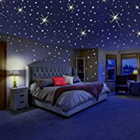 Glow in The Dark Stars for Ceiling or Wall Stickers - Glowing Wall Decals Stickers Room Decor Kit - Galaxy Glow Star Set…