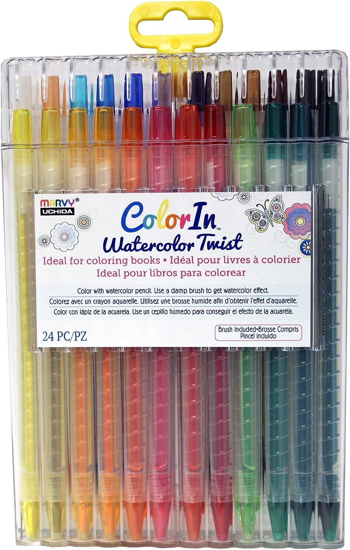 UCHIDA Colorin, 24 piezas, juego de lápices de acuarela Twist ...