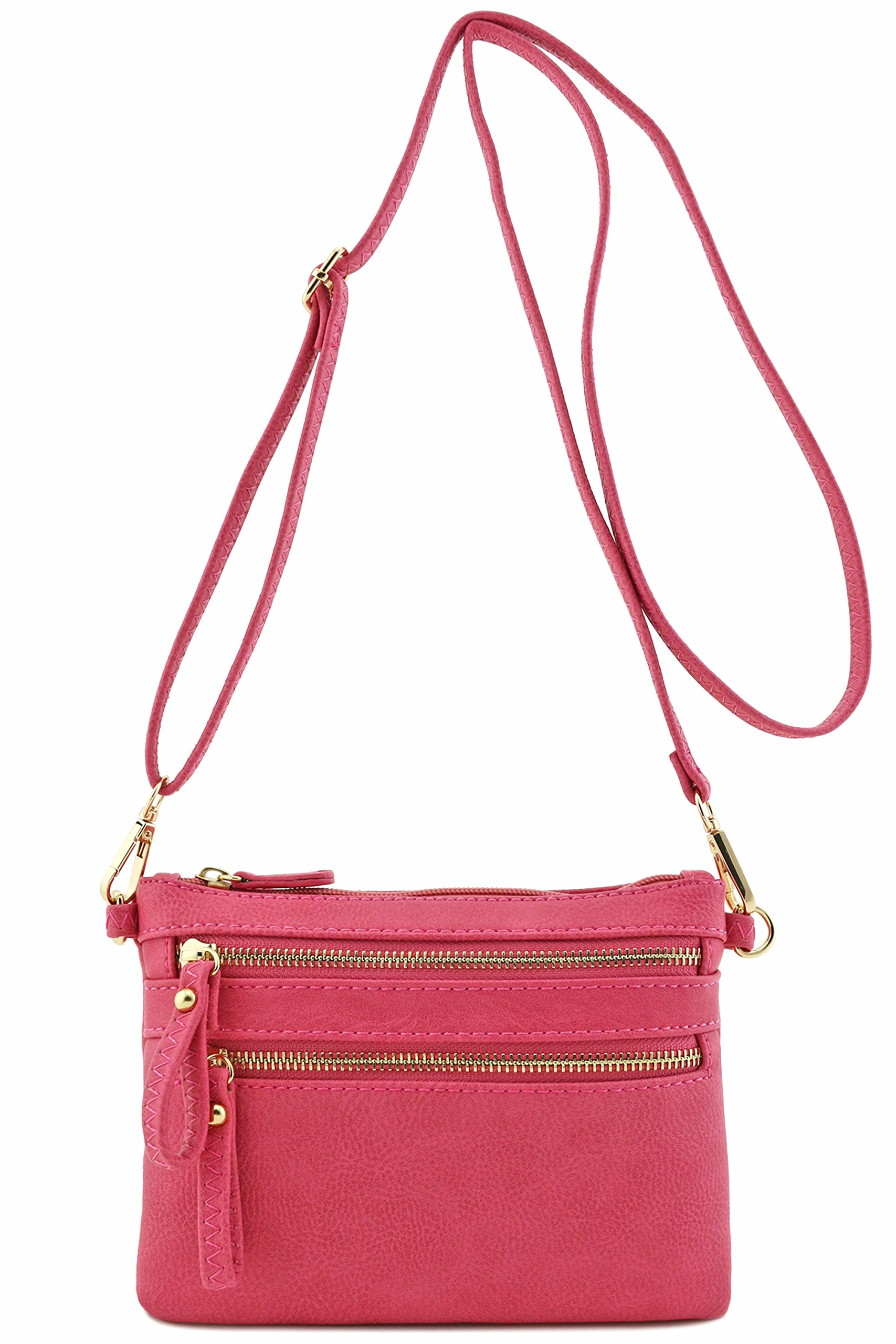 Multi Zipper Pocket Small Wristlet Crossbody Bag (Raspberry)