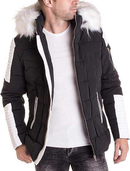BLZ Jeans Manteau Noir Simili Cuir Blanc avec Capuche