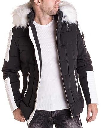 18902c81b51a BLZ Jeans - Manteau Noir Simili Cuir Blanc avec Capuche Fourrure Blanche  pour Homme - Couleur