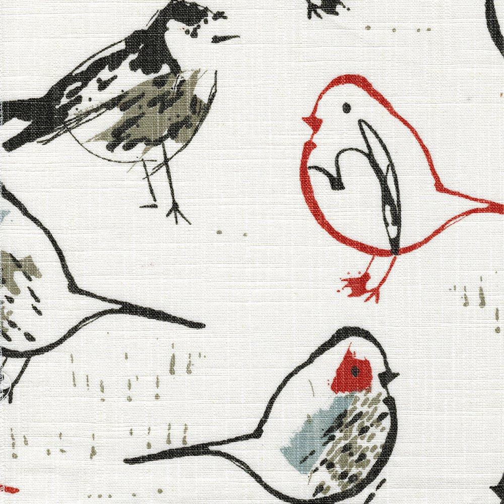 鳥トワールスカーレットレッドChinoiserie枕シャムコットンリネン ヨーロッパ レッド KS517-RSH-E1 B075DFRJ6B フリル ヨーロッパ