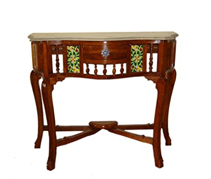 Kamoni Solid Teak Wood Antique Look Console Table With Marble Top Size :  30x36x15u0026quot; (