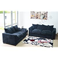 Dylan Byron Black Fabric Jumbo Cord Sofa Settee Couch 3+2 Seater