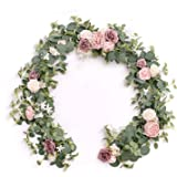 Ling's moment Eucalyptus Garland with Flowers 6FT,Table Runner with Flowers Handcrafted Wedding Centerpieces for Rehearsal Di