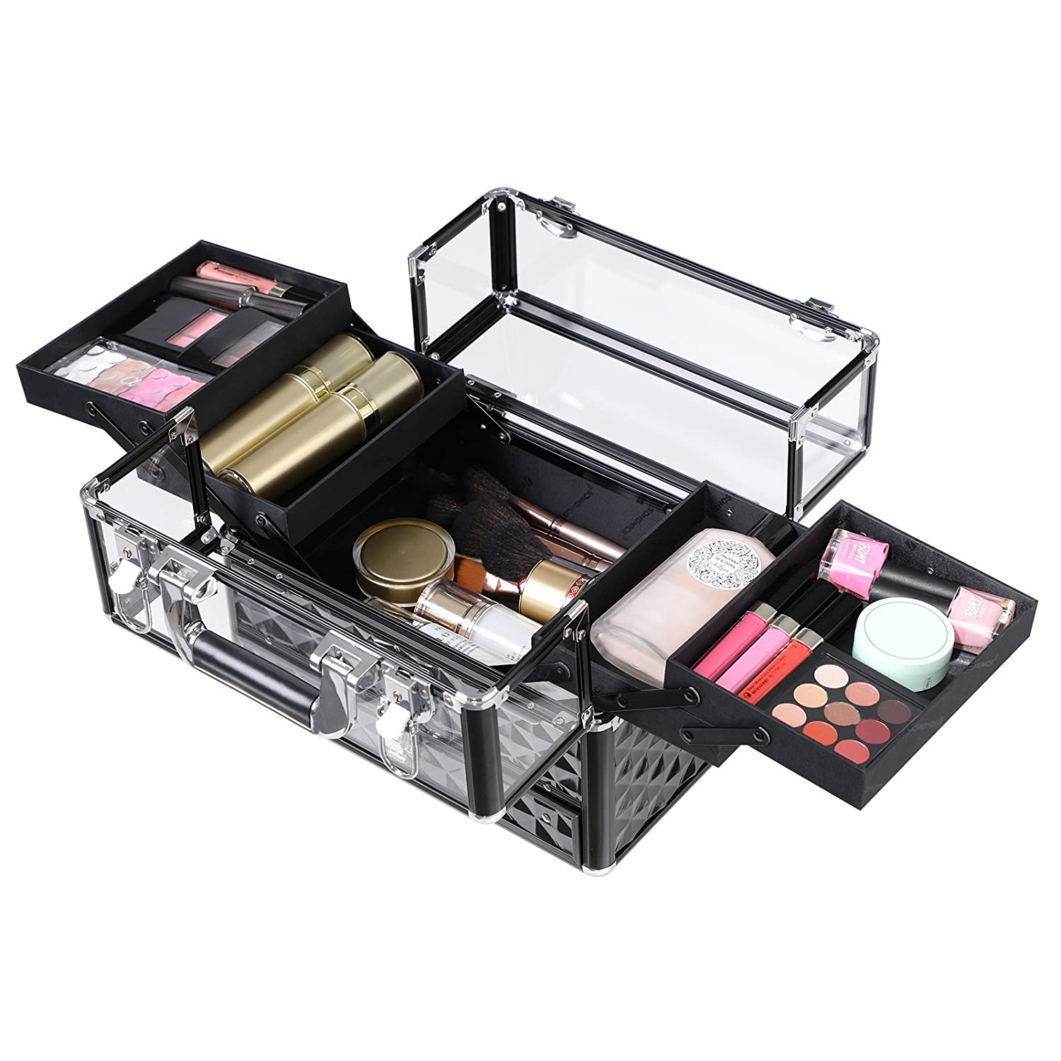 Songmics Deluxe Makeup Case Beauty Cosmetic Vanity Organizer For Professional