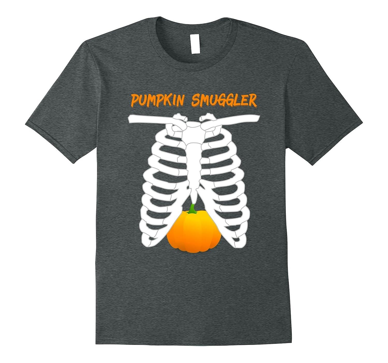 Pumpkin Smuggler Funny Skeleton Maternity Halloween T-Shirt-PL