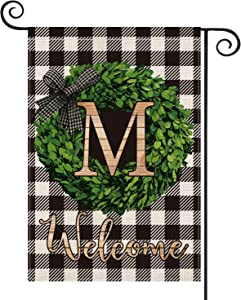 AVOIN Boxwood Wreath Monogram Initial Family Last Name M Garden Flag Vertical Double Sided, Welcome Buffalo Check Plaid Rustic Farmhouse Flag Yard Outdoor Decoration 12.5 x 18 Inch