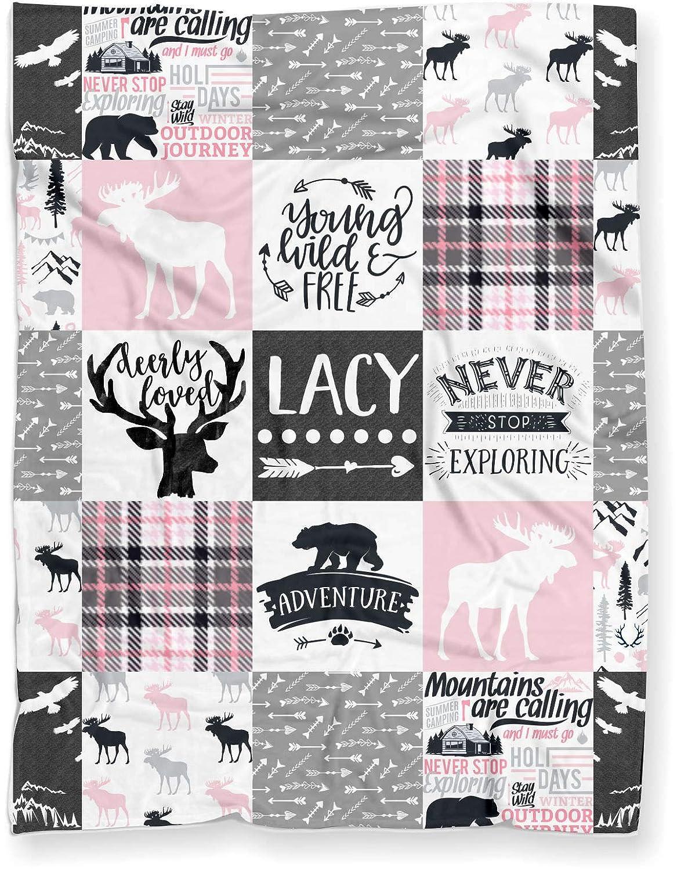 Personalized Moose Plush Baby Blanket Woodland Boho for Boy (Soft Polyester Fleece - 30' x 40') Puddle Kickers