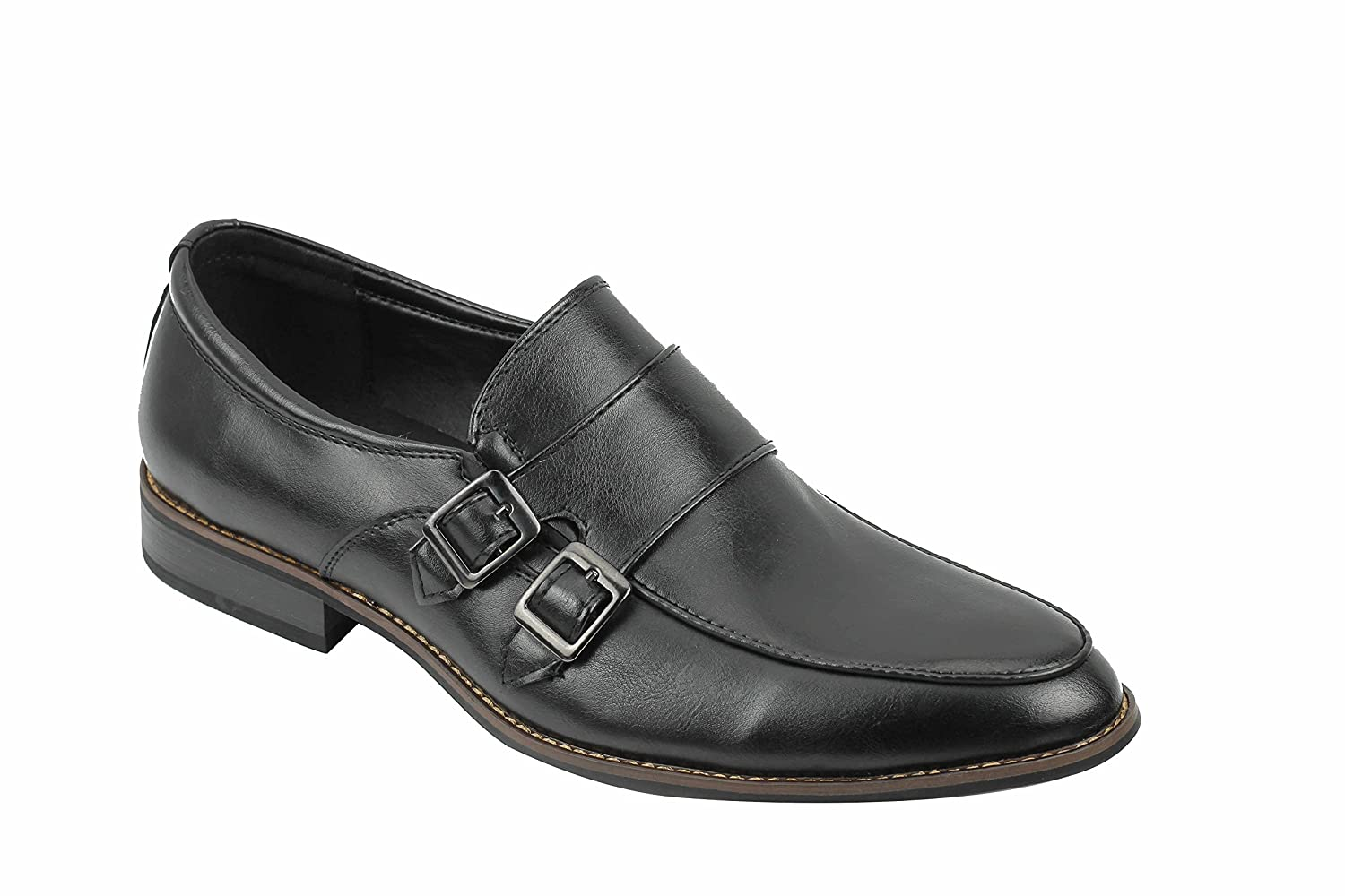 Mens Leather Lined Black Brown Buckle Monk Strap Slip On Shoes Smart Casual Work UK Size