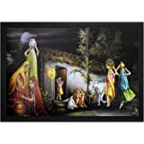 PPD village scenery painting for home and office (18 inch x 12 inch) with Hight quality Frame