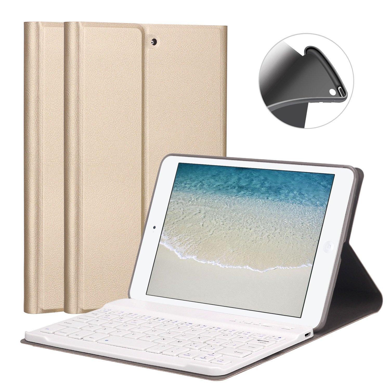 Upgrade Soft TPU Back Stand Cover with Magnetically Detachable Wireless Bluetooth Keyboard for Apple iPad Mini 1 // Mini 2 // Mini 3 GOOJODOQ 7.9 iPad Mini 1//2//3 Keyboard Case