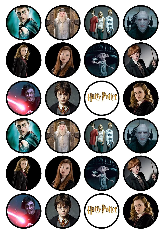 24 adornos comestibles para magdalenas, diseño de Harry Potter ...