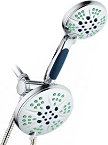 Hotel Spa NOTILUS Antimicrobial High Pressure Luxury 3-in-1 Rain Shower Spa Combo, 2-zone Antimicrobial Anti-Clog Nozzles- 6 Settings, 6'', Anti-Slip Grip, Metal Fittings, Stainless Steel Hose, Chrome