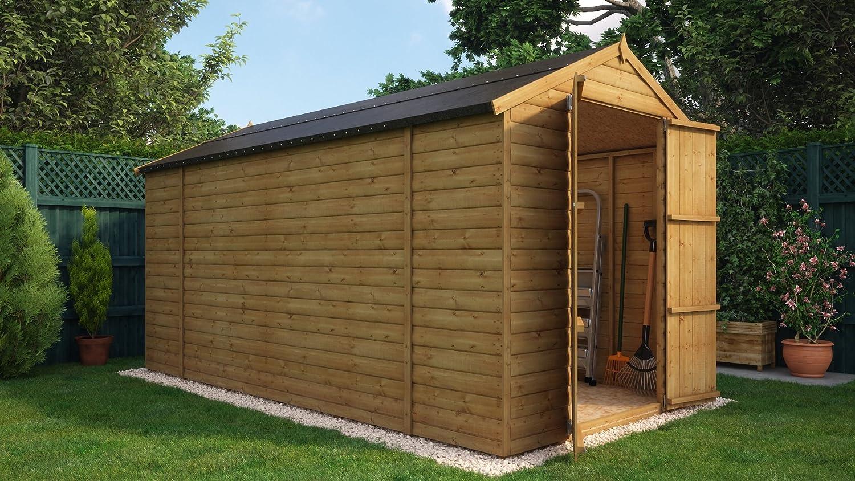 12 x 6 de madera cobertizo de jardín Tongue & Groove loglap 12 mm sin Ventana con doble puertas: Amazon.es: Jardín