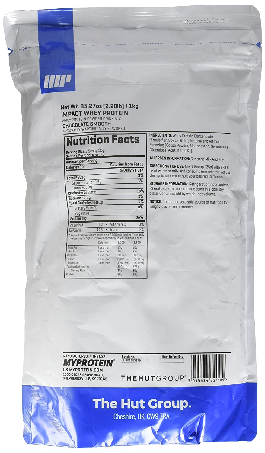 Amazon.com: MyProtein Impact Whey Protein , Cookies & Cream, Pouch, 2.2lbs: Health & Personal Care