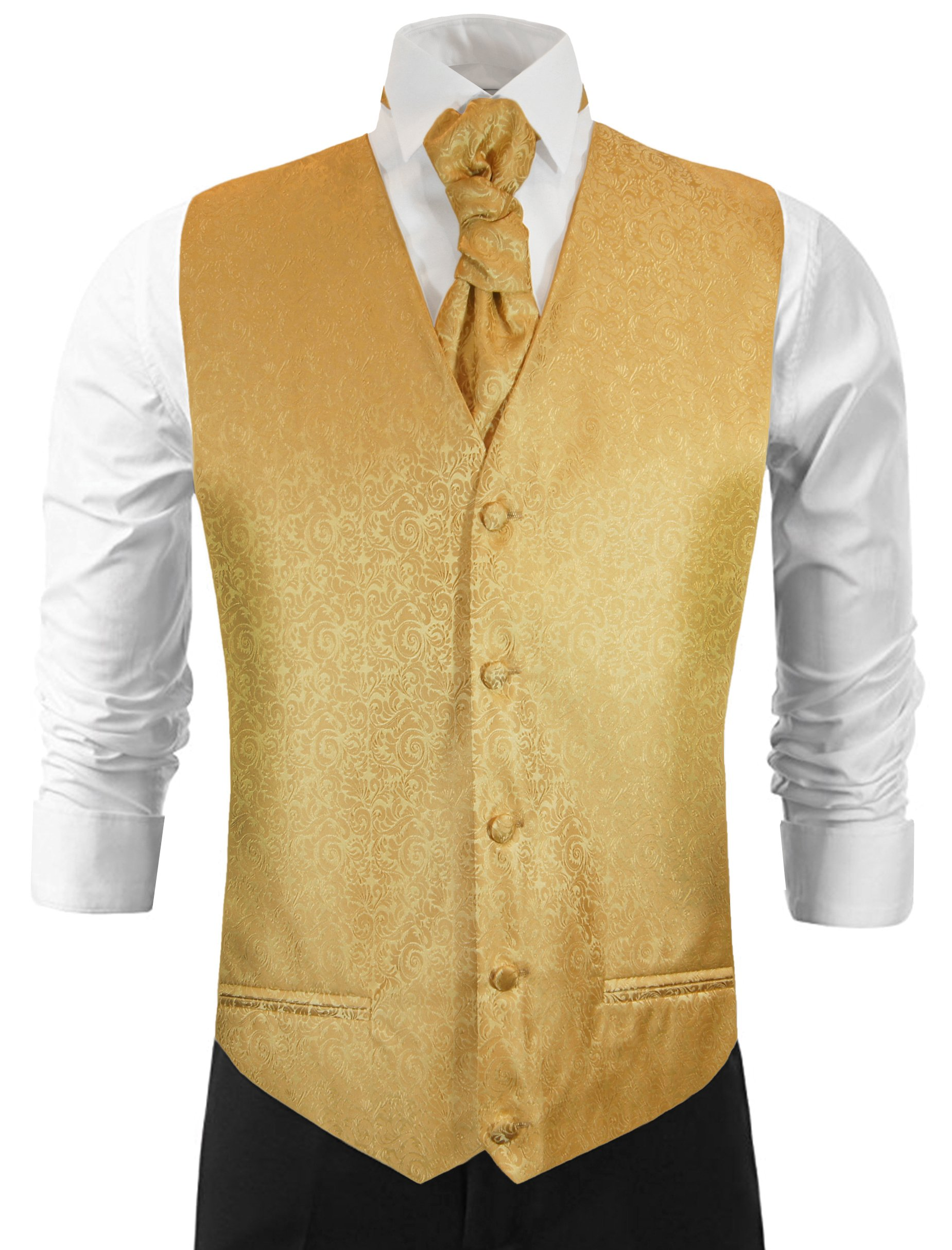 Paul Malone Gold Wedding Vest Set with Formal Tie, Pocket Square and Cufflinks