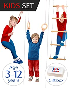 Kids Gym play set - Jungle gyms for kids - Indoor Outdoor playset for boys and girls - Gorilla gym kit include swing, climbing ladder, gymnastics rings