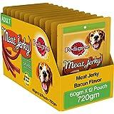 Pedigree Meat Jerky Stix Adult  Dog Treat, Bacon, 12 Packs (12 x 60g)