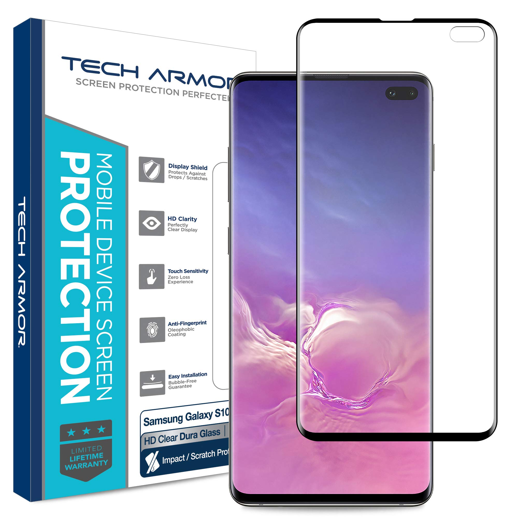 Tech Armor Dura Glass Screen Protector Designed for Samsung Galaxy S10 Plus - Case-Friendly, Hybrid Glass, Ultra-Thin, Scratch and Impact Protection with Easy Installation Tool - [1-Pack] by Tech Armor