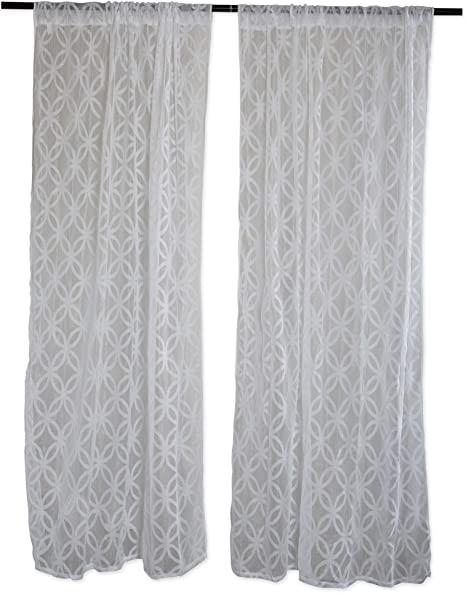 For Small Windows Kitchen 50x63 - White Lattice DII Elegant Decorative Sheer Curtain Window Treatments or Drape Bedroom Panels Set of 2 Kids Rooms in Living Room