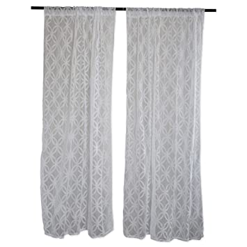 Amazoncom Home Essentials Dii Sheer Lace Decorative Curtain Panels