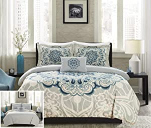 Chic Home Mindy 4 Piece Reversible Duvet Cover Set Large Scale Boho Inspired Medallion Paisley Print Design Bedding - Decorative Pillow Shams Included, King, Blue